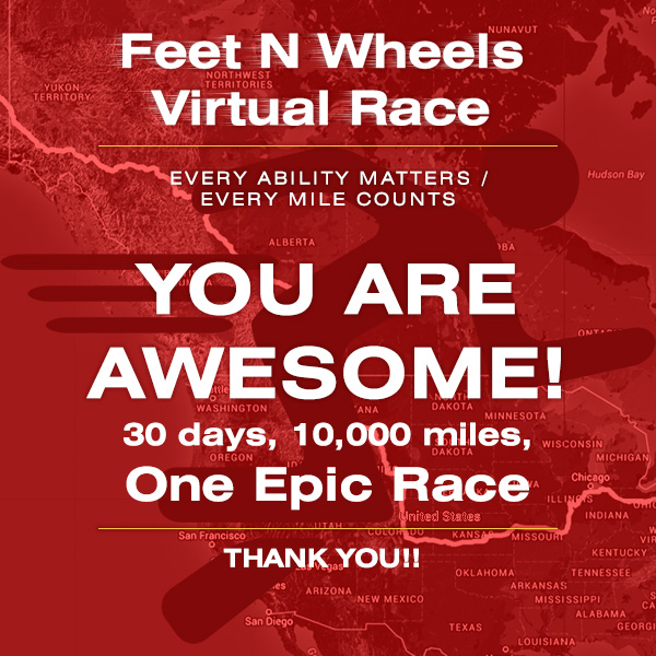 Virtual charity race placard