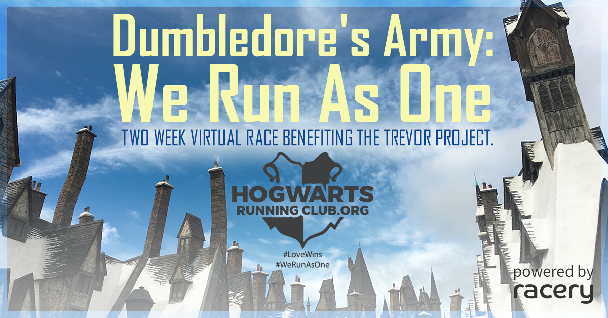 The starting placard for the Hogwarts Running Club's virtual race for the Trevor Project charity