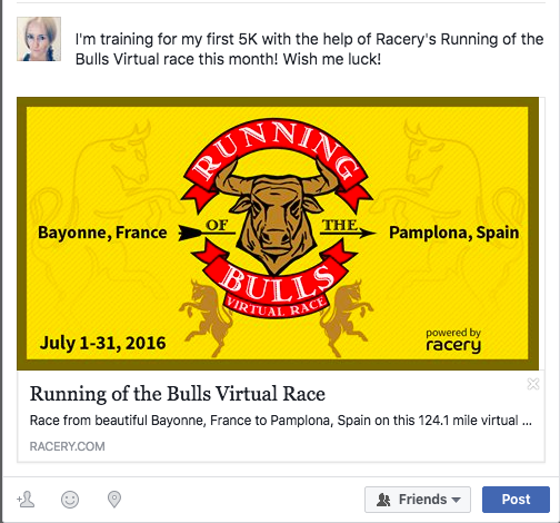 Virtual Race on Facebook