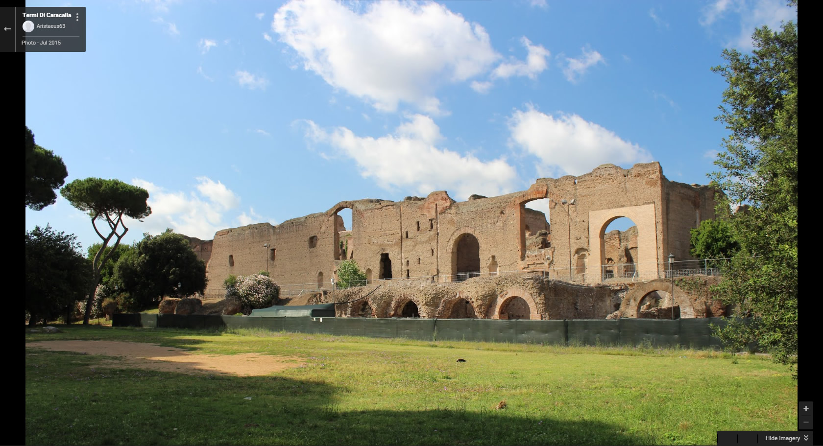 Virtual Race Street view of Baths of Caracalla