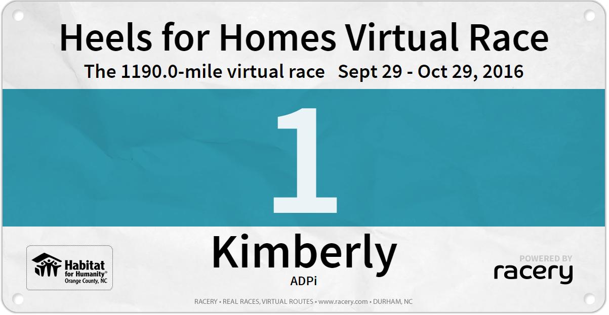 Heels for Homes Virtual Race - Kimberly Race Bib