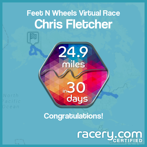 Chris Fletch Feet and Wheels Virtual Fundraising Race Award Placard